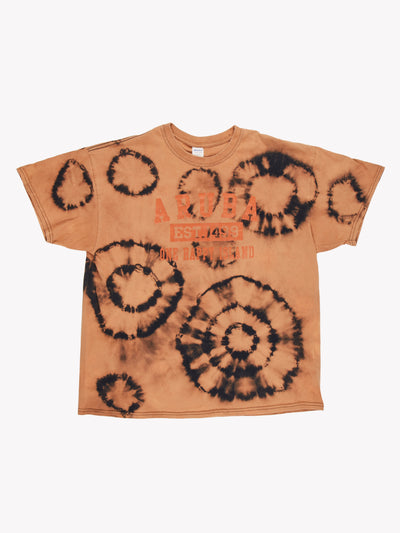 Vintage Aruba Bleach Effect T-Shirt Orange/Black Size XL