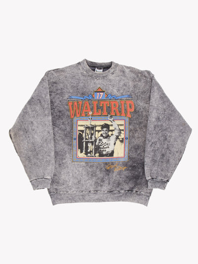 Vintage 'Waltrip' Bleach Effect Sweatshirt Grey/Red/Blue Size Large