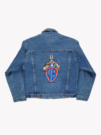 Vintage Warner Brothers Denim Jacket Blue/Red Size Small - Blue / Small / Great (10008333)