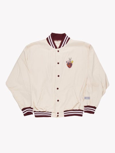 Warner Brothers Bomber Jacket Cream/Burgundy Size XXL
