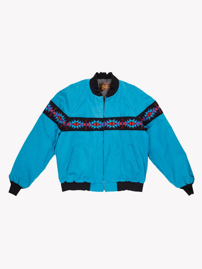 Vintage Carhartt Style Jacket With Aztec Pattern Blue/Black/Orange Size XL