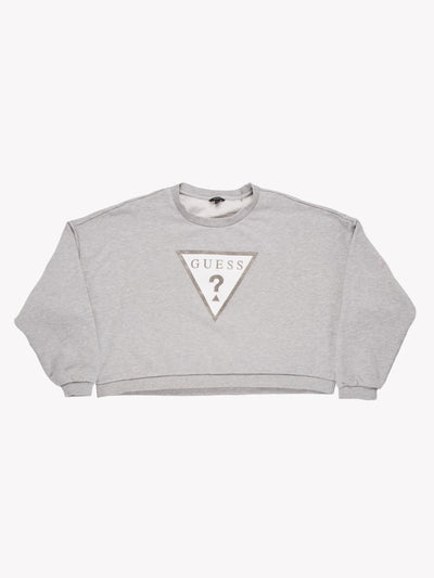 Guess Cropped Sweatshirt Grey/White Size XL
