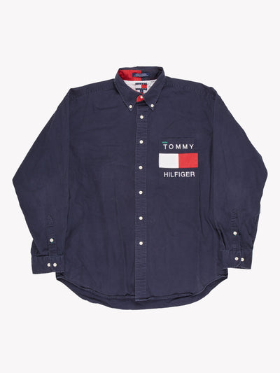 Tommy Hilfiger Shirt Blue/White/Red Size Large