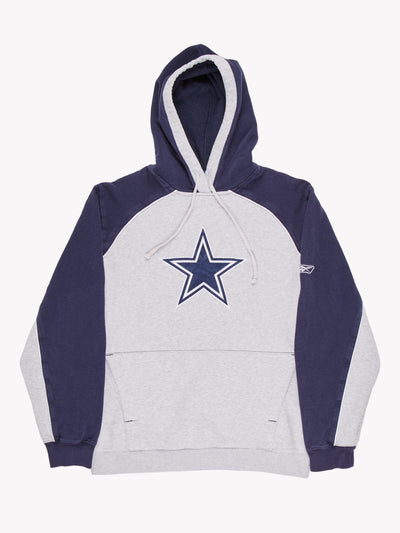 Reebok Dallas Cowboys NFL American Sport Hoodie Grey/Navy Size Small