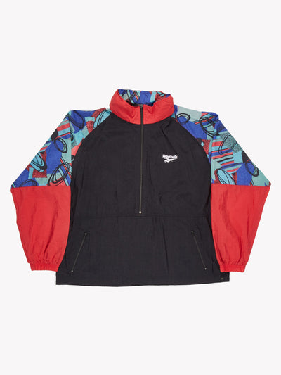 Reebok Patterned Pull Over Jacket Black/Red/Blue Size Medium