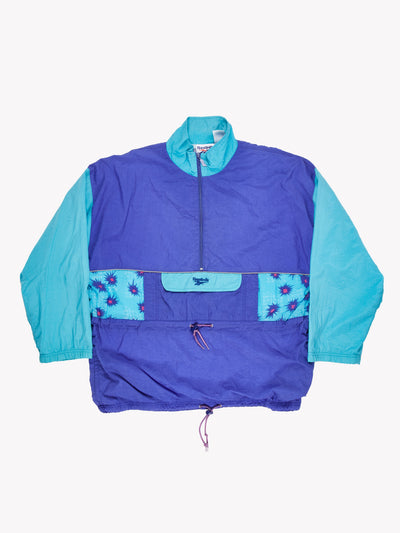 Reebok Pull Over Jacket Purple/Blue Size Large