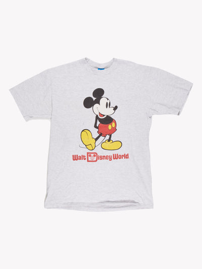 Walt Disney World Mickey Mouse T-Shirt Grey/Red/Yellow Size Large