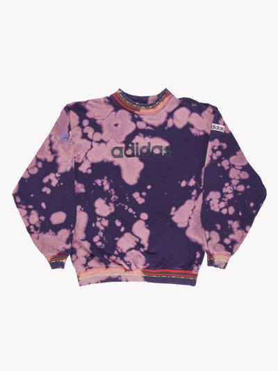 Adidas Bleach Effect Sweatshirt Purple/Pink Size Small