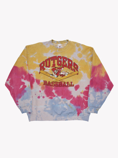 Rutgers Baseball Bleach Effect Sweatshirt Yellow/Pink/Blue Size XL