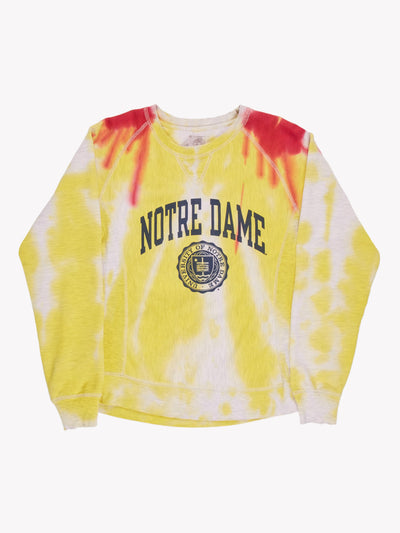 Champion Notre Dame Bleach Effect Sweatshirt Grey/Yellow/Pink Size