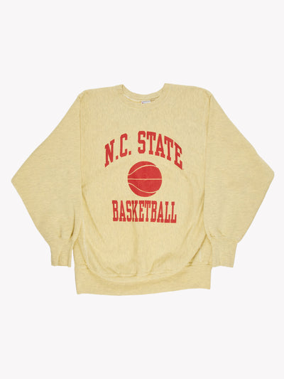 Champion N.C. State Basketball Overdyed Sweatshirt Yellow/Red Size XL