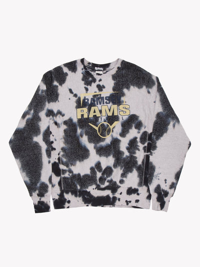 Champion Rams Softball Bleach Effect Sweatshirt Grey/Blue Size Small