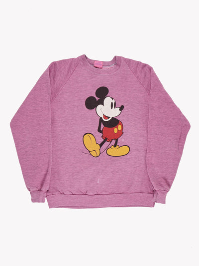 Mickey Mouse Overdyed Sweatshirt Pink/Black/Red Size Medium