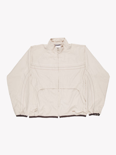 Reebok Windbreaker Style Jacket Cream/Brown Size Large