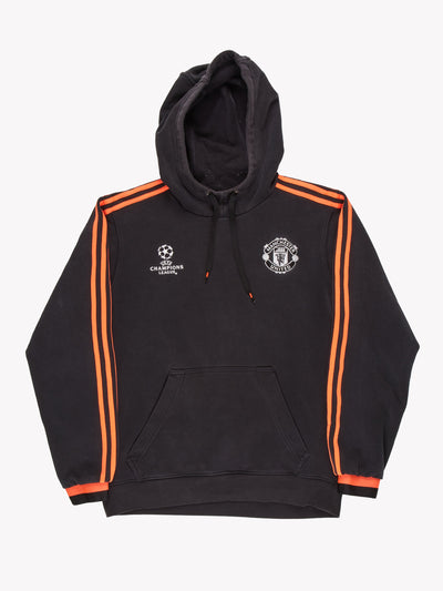 Adidas Manchester Utd UEFA Champions League Hoodie Black/Red Size Medium