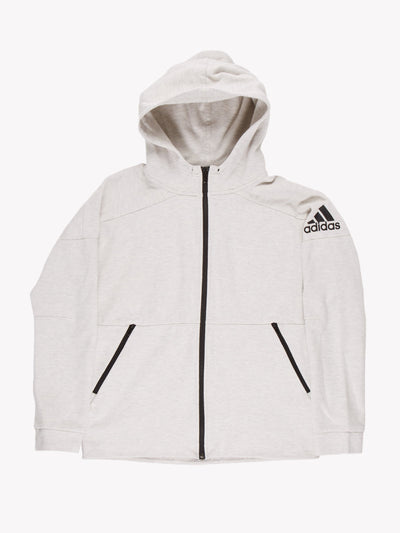Adidas Zip Up Hoodie Grey/Black Size Small
