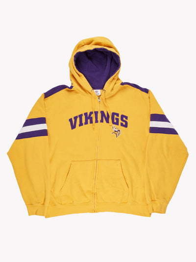Minnesota Vikings NFL Zip Up Hoodie Yellow/Purple Size XXL