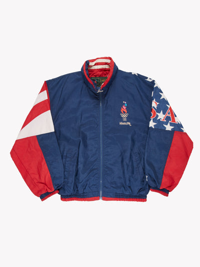 Starter Atlanta 1996 Olympic Sports Jacket Blue/Red/White Size Medium