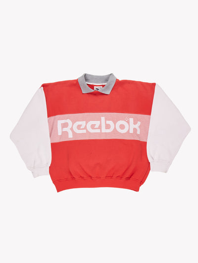 Reebok 90's Polo Sweatshirt Red/Grey/White Size Medium