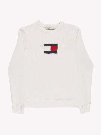 Tommy Hilfiger Knitted Jumper White/Red/Navy Size Small
