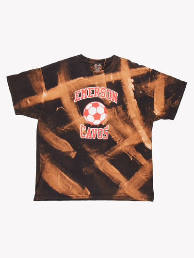 Emerson Cavos Bleach Effect T-Shirt Black/Orange/Red Size XL