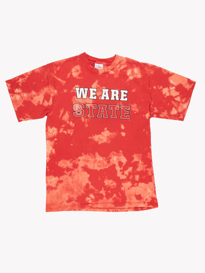 We Are State Bleach Effect T-Shirt Red/Pink Size Large