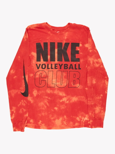 Nike Bleach Effect Long Sleeve T-Shirt Red/Orange/Black Size Small