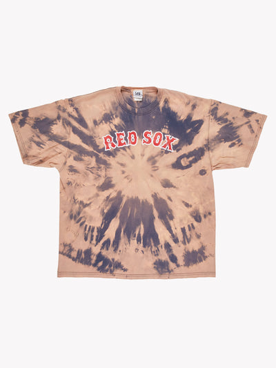 Red Sox MLB Bleach Effect T-Shirt Pink/Blue/Red Size XXL