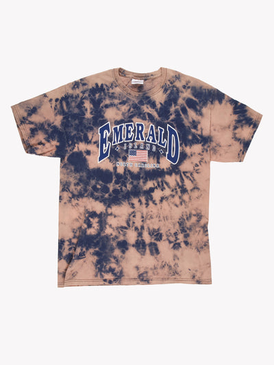 Emerald Island Bleach Effect T-Shirt Navy/Pink Size Large