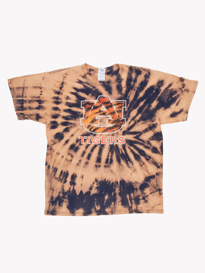 AU Tigers Bleach Effect T-Shirt Orange/Navy Size Large
