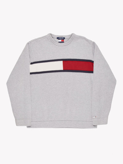 Tommy Hilfiger Knitted Jumper Grey/Red/White Size Large