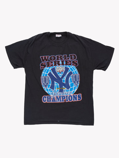 New York Yankees MLB World Series T-Shirt Black/Red/Blue Size Large