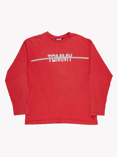 Tommy Hilfiger Long Sleeve T-Shirt Red/Grey Size Large