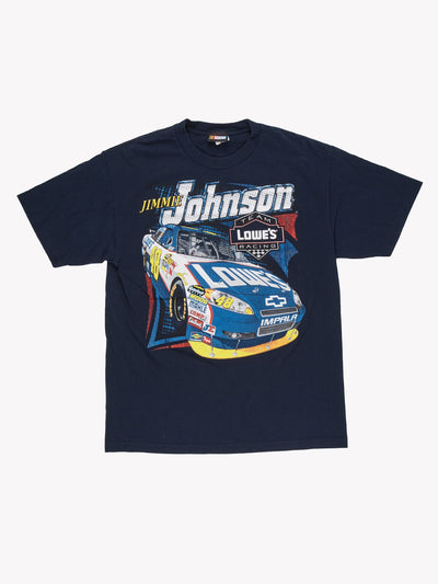 Nascar Jimmie Johnson Racing T-Shirt Navy/Yellow Size Large