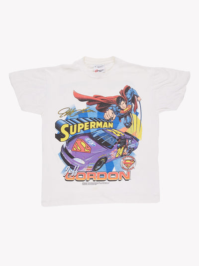 1999 Nascar Jeff Gordon Superman T-Shirt White/Blue/Red Size Medium