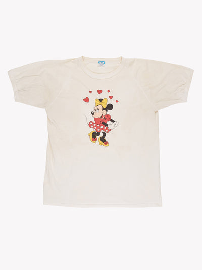 Disney Minnie Mouse T-Shirt Cream/Red/Black Size XL