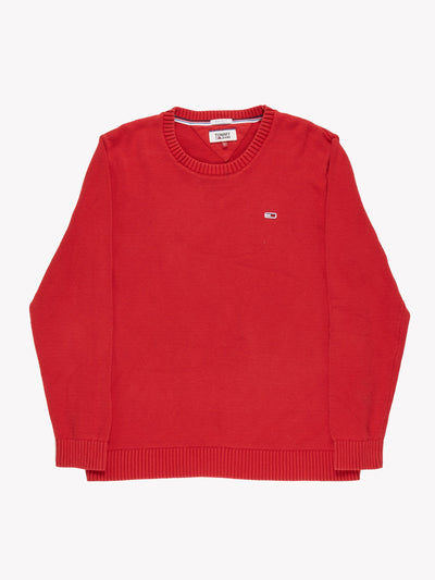 Tommy Jeans Knit Jumper Red Size Large
