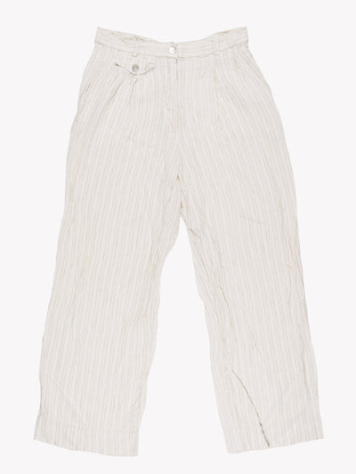 Esprit Stripe Linen Trousers White/Cream Size Medium