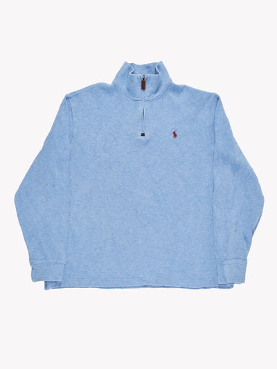Ralph Lauren Quarter Zip Jumper Blue Size Large