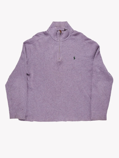 Ralph Lauren Quarter Zip Jumper Purple Size XL