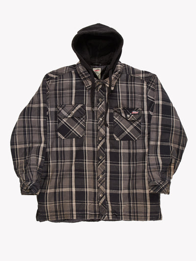 Dickies Check Shacket With Hood Grey/Black Size Large