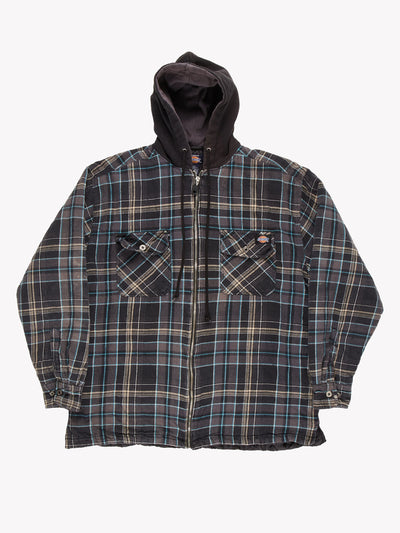 Dickies Check Shacket Grey/Blue/Black Size Large