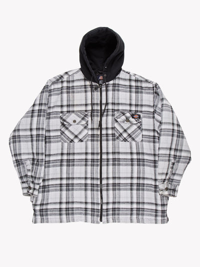 Dickies Check Shacket With Hood White/Green/Black Size XL