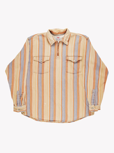 Levi's Quarter zip Stripe Shirt Yellow/Orange/Blue Size Large