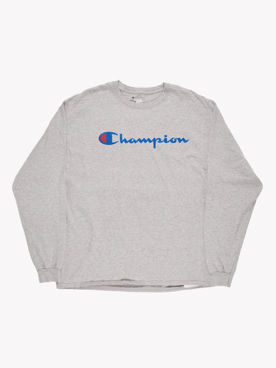 Champion Long Sleeve T-Shirt Grey/Blue/Red Size XL