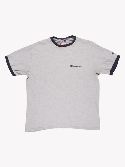 Champion T-Shirt Grey/Navy Size Large