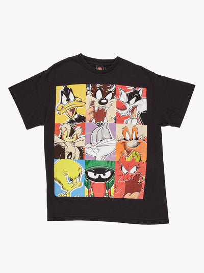 Looney Tunes Character T-Shirt Black/Yellow/Red Size Large