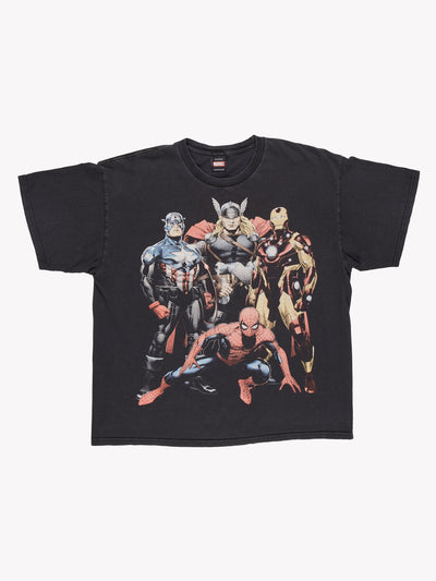 Marvel Character T-Shirt Black/Red/Yellow Size XL