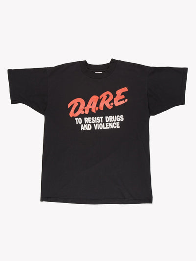 Vintage D.A.R.E T-Shirt Black/Red/White Size Large