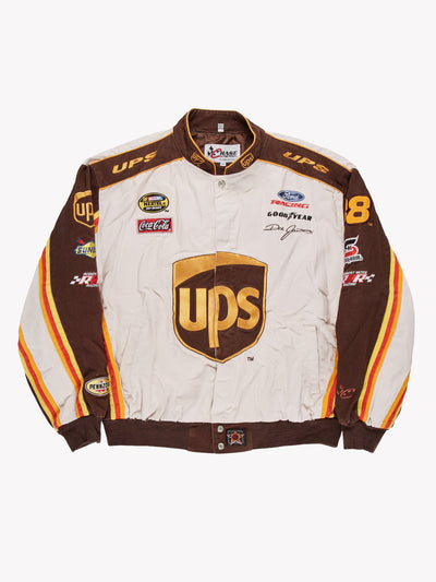 Nascar UPS Jacket White/Brown/Orange Size XXL